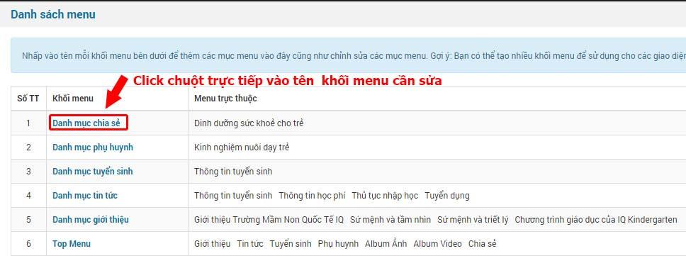 tuy chinh khoi menu