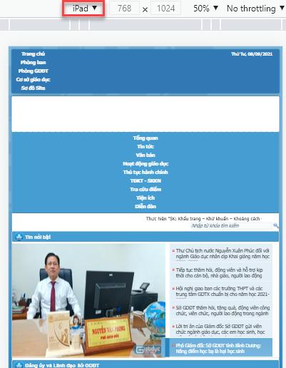 Đánh giá Cổng thông tin điện tử Sở Giáo dục Bình Dương (ipad)
